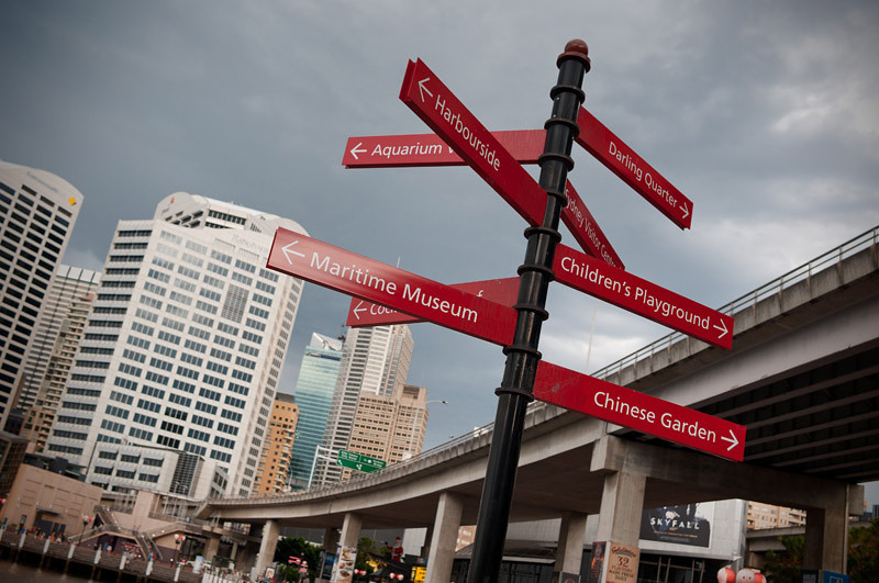 Signs in Darling Harbour