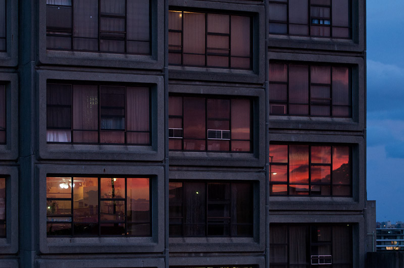 Sunset colours reflected on windows