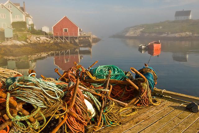 Morning Mist at Peggy's Cove, Nova Scotia