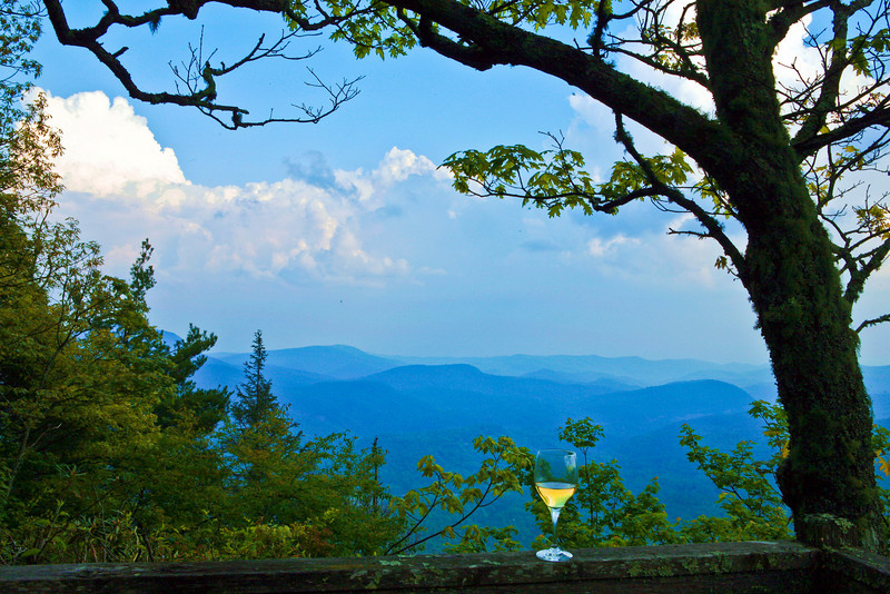 Glass of Chardonnay in the Smoky Mountains