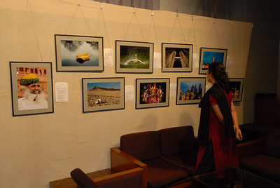 Visitors to the photographic exhibition.