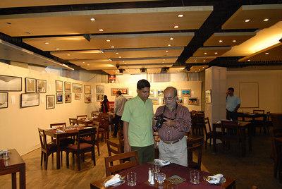 Venky with Swapan Mukherjee at  the exhibition held at the Rodas Hotel, Powai, Mumbai.