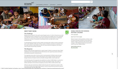 STARS Foundation winner:  Mobile Creches works with birth to 12 year old children living on the construction sites and slums of Delhi(NCR) since 1969. Integrated Daycare Centers for children on construction sites are run. Mobile Creches has so far reached out to 7,50,000 children, trained 6,500 women as childcare workers, run 650 daycare centres and partnered with 200 builders.  Mobile Creches runs daycares centres where children are provided education, nutrition and healthcare. Community-women and NGOs are trained to provide care and speak-up for the child. The years of experience along with strong-networks helps in the advocacy for policy-change.
