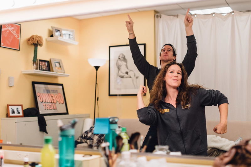 Chilina Kennedy, Evan Todd having an impromptu dance party in her dressing room