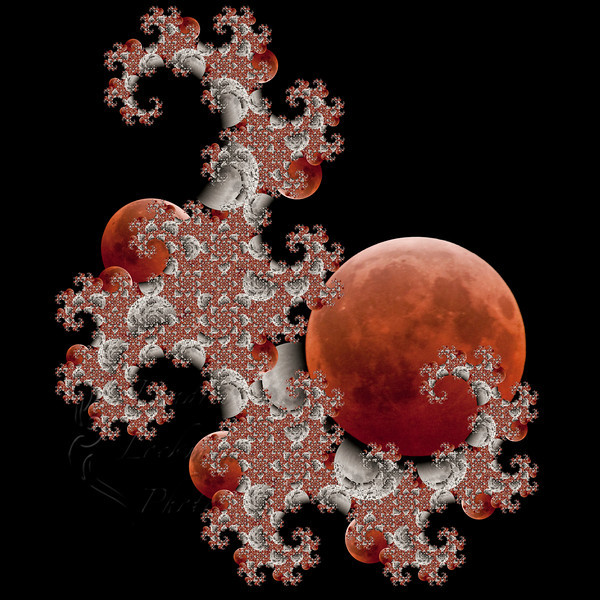The dragon fractal, with photos of the partially eclipsed moon and the fully eclipsed moon on December 20/21, 2010. <br /> <br /> Photos and fractal © 2011 Kendra Lockman Photography