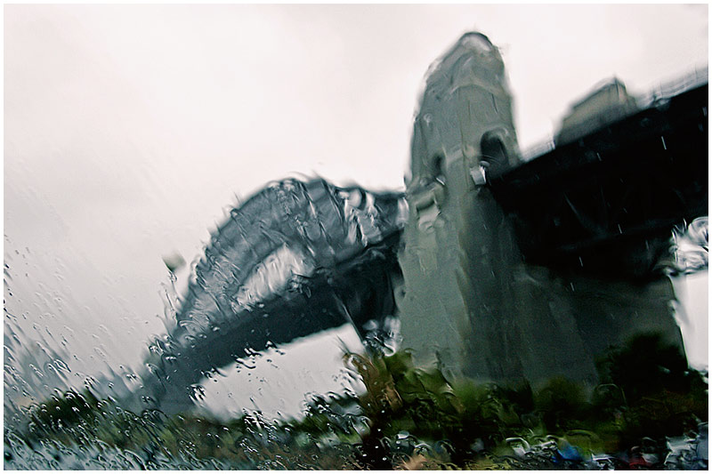 Photo Friday Challenge: Blur<br /> 10th February 2006<br /> <br /> Sydney Harbour Bridge on a rainy day.