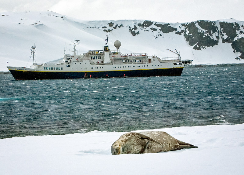 Our ship the Endeavor visiting Half Moon Island on the Antarctic Peninsula.