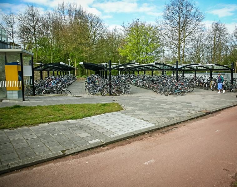 The bike parking lot at a small railroad station