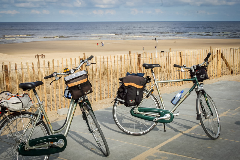 Our bikes along the North Sea