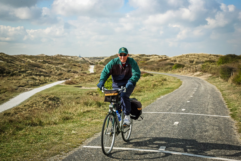 Making our way through the rolling sandhills next to the North Sea