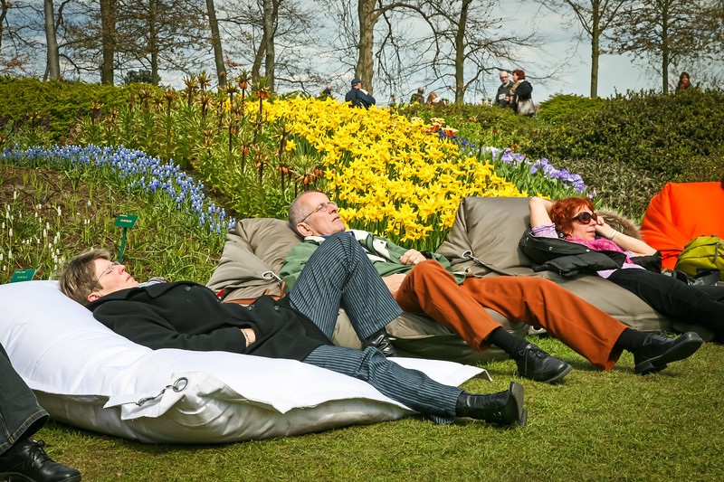 Exhausted visitors from viewing so many tulips