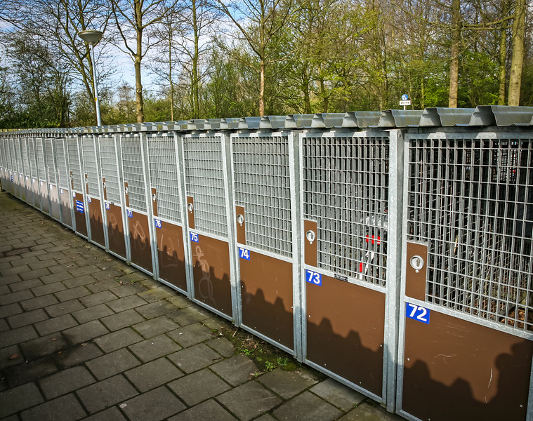 For more security of their bikes, riders can store them in these cages