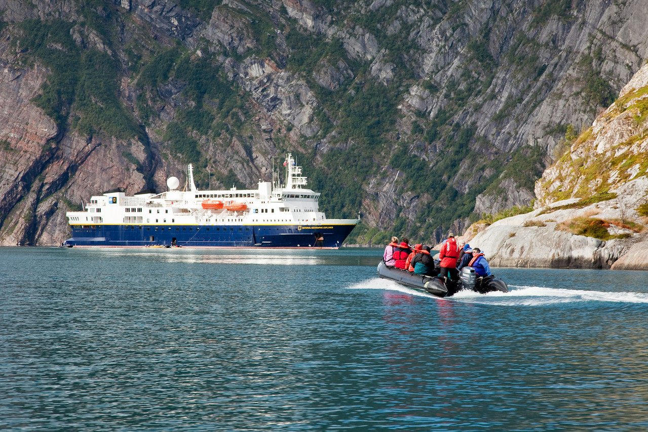 Exploring the fjords from the National Geographic Explorer
