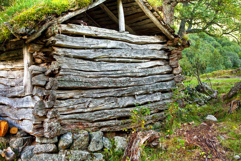 Hut by Briksdalsbreen Glacier
