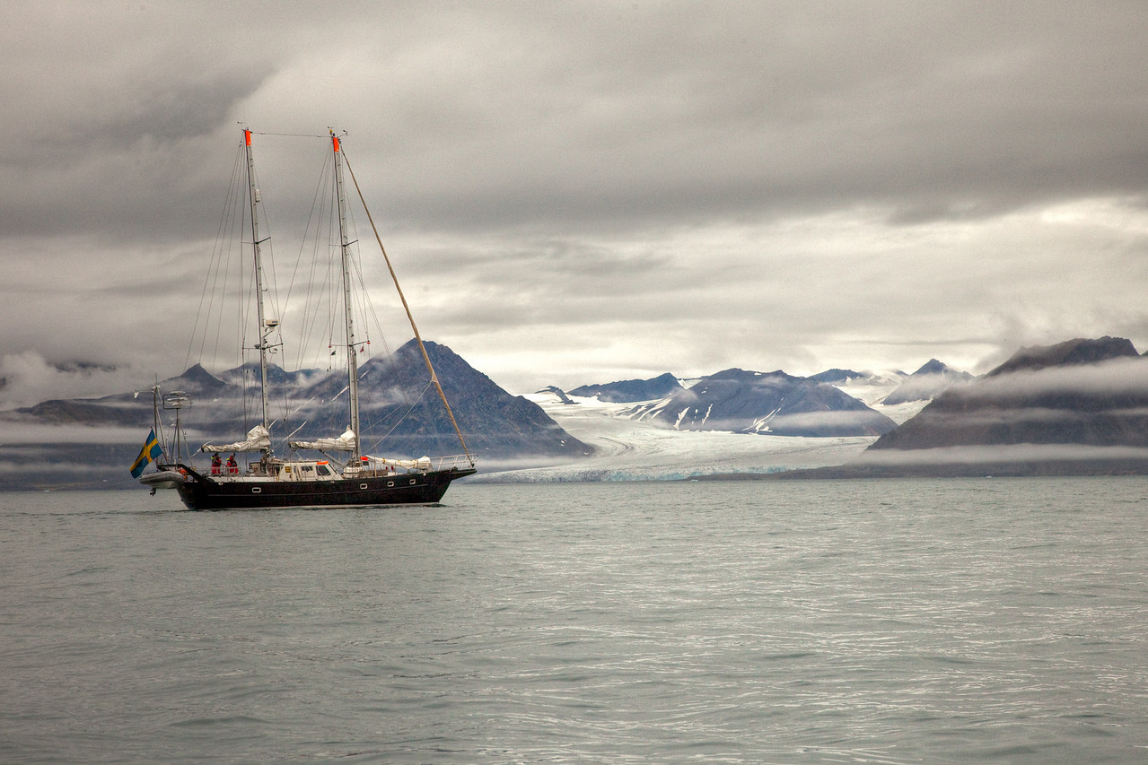 Swedish ship in the cold waters of Svalbard.