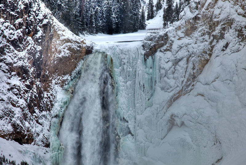 Partially frozen waterfalls at the Grand Canyon of Yellowstone