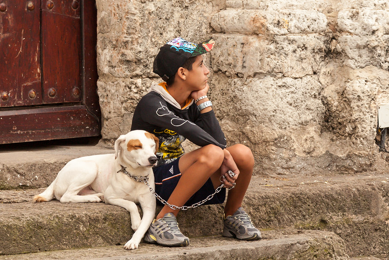 A favoriet photo: Boy and dog sitting on the church steps in the Old City.