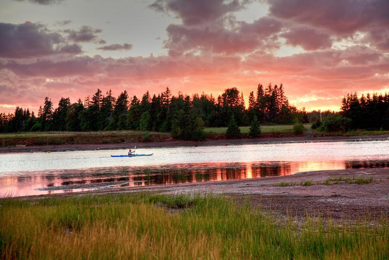 Kayaking near Northport at sunset