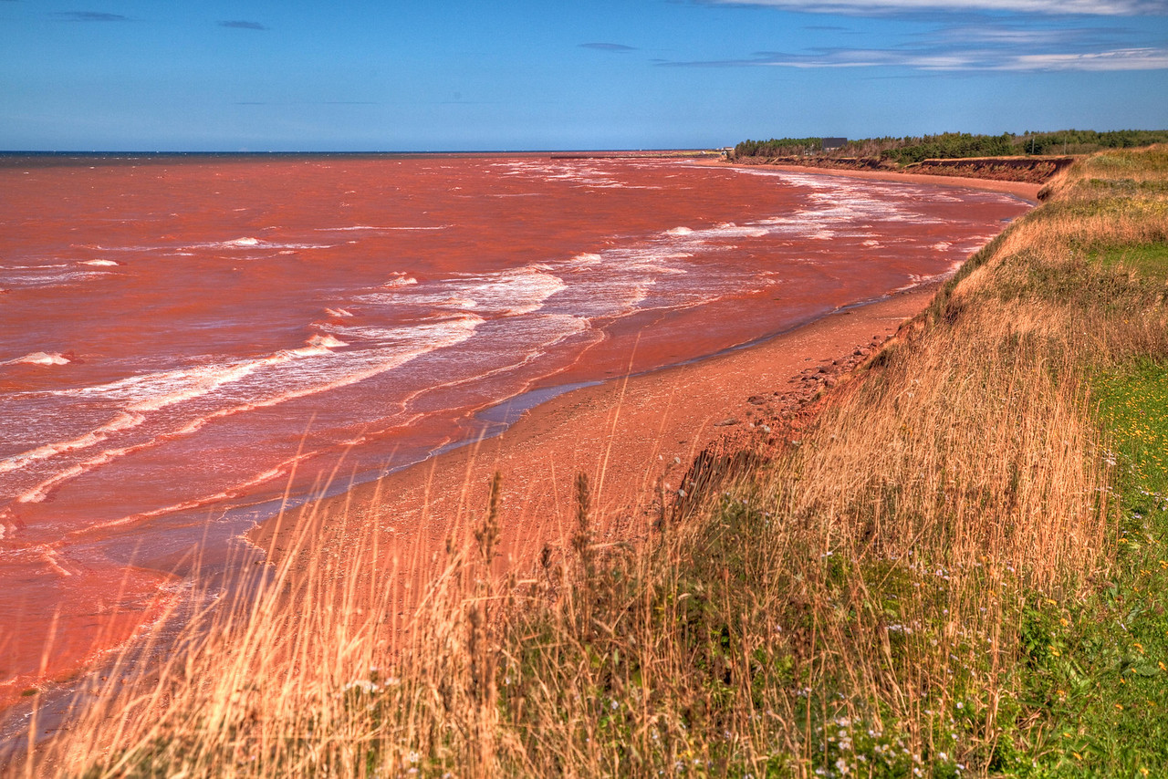 "The ""red sea"" caused by the sandstone on PEI and the turbulent water from Hurricane Earl"