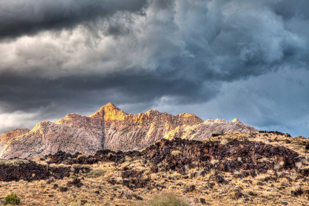 Glimpse of sunlight on a stormy day in Snow Canyon State Park near St. George, Utah