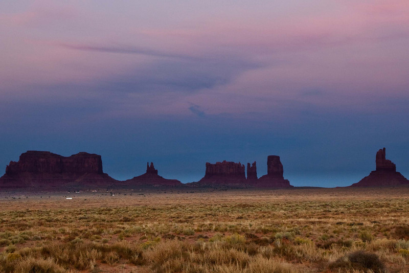 Entering the Navajo Tribal Park in Monument Valley after sunset