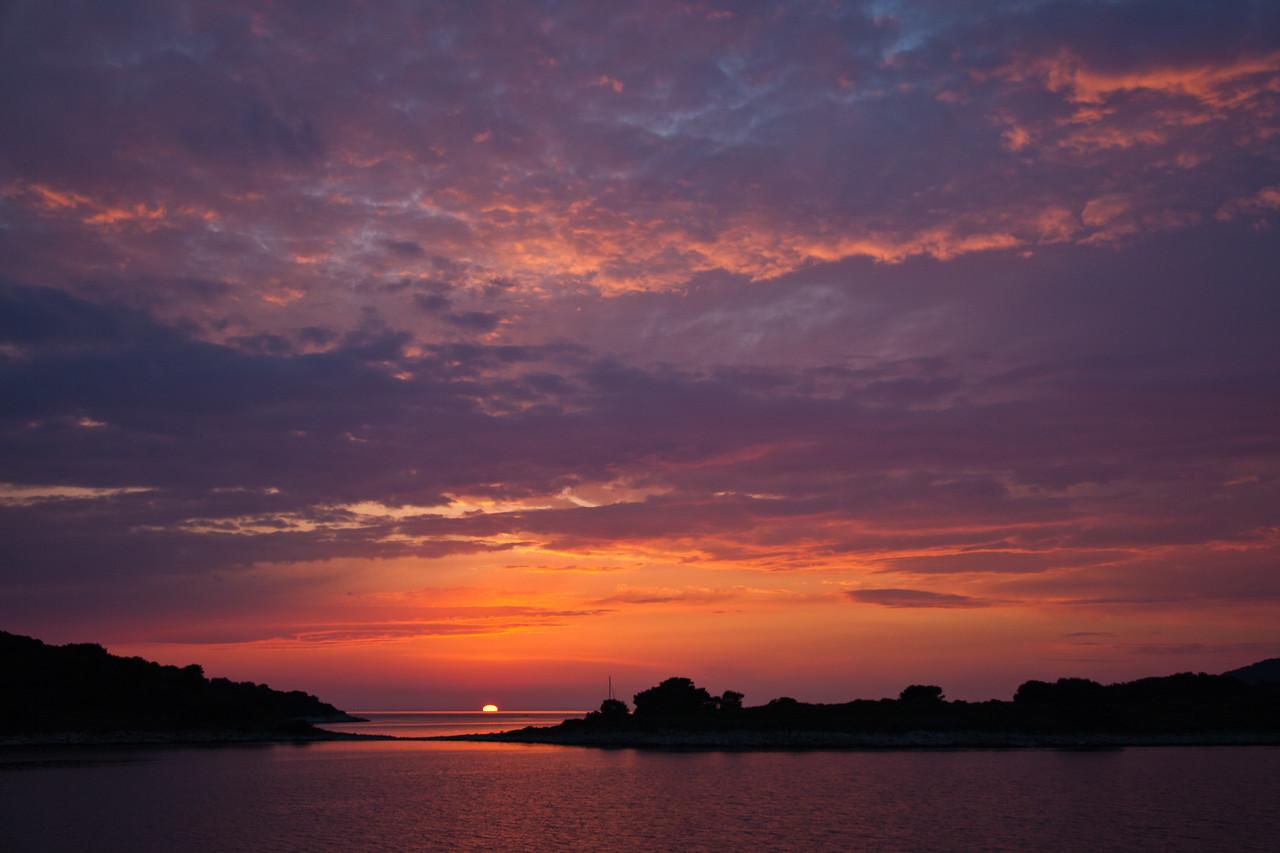 Magnificent sunset off the coast of Hvar, Croatia