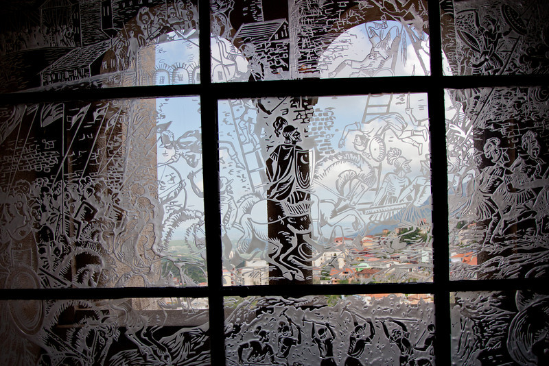 Etched glass window in the Skanderbeg Museum in Kruje, Albania