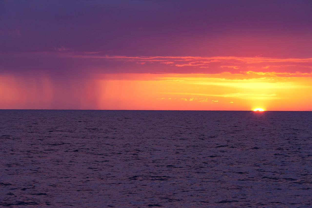 Rain at sunset in the Adriatic Sea