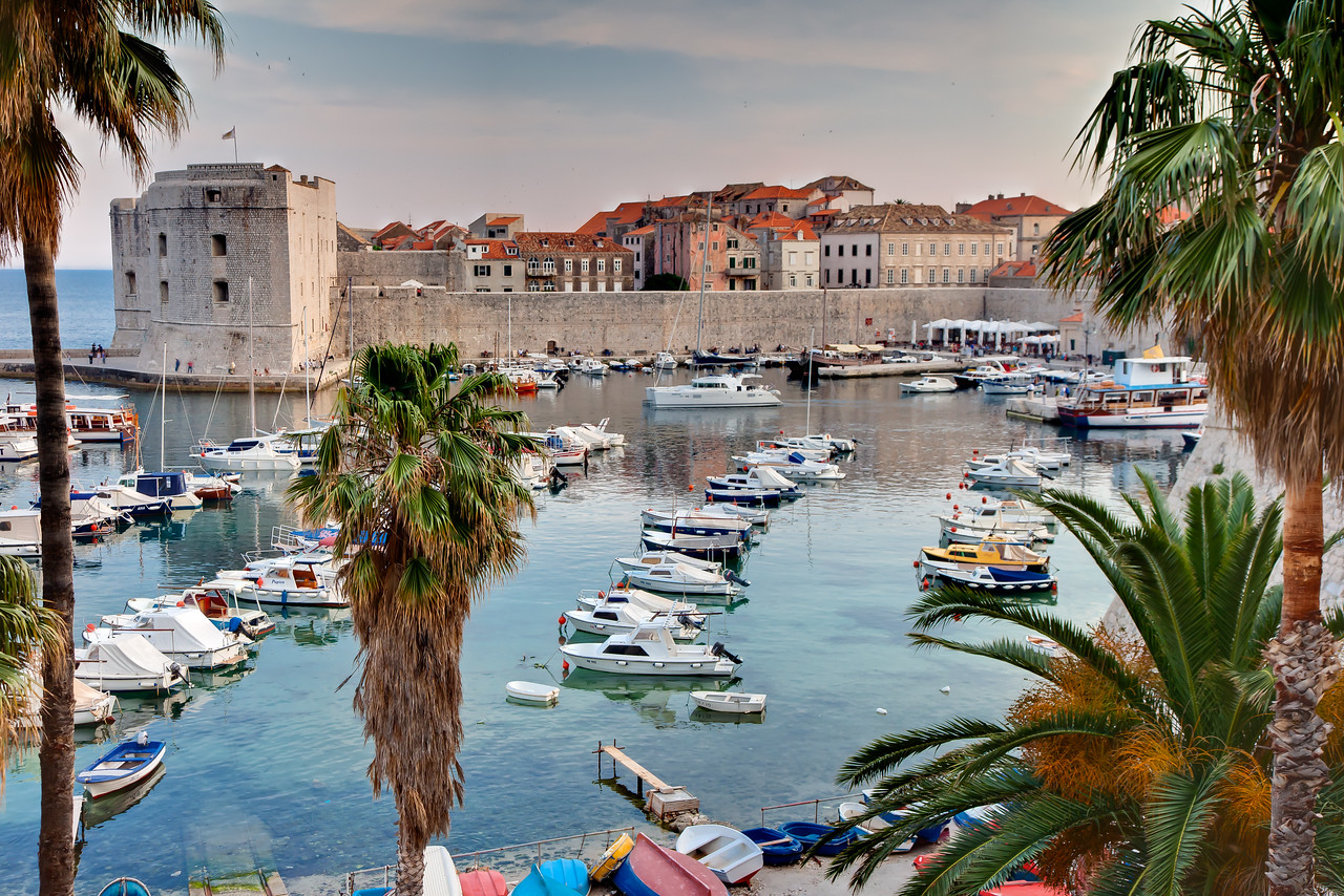 Marina outside the entrance to the Old City of Dubrovnik