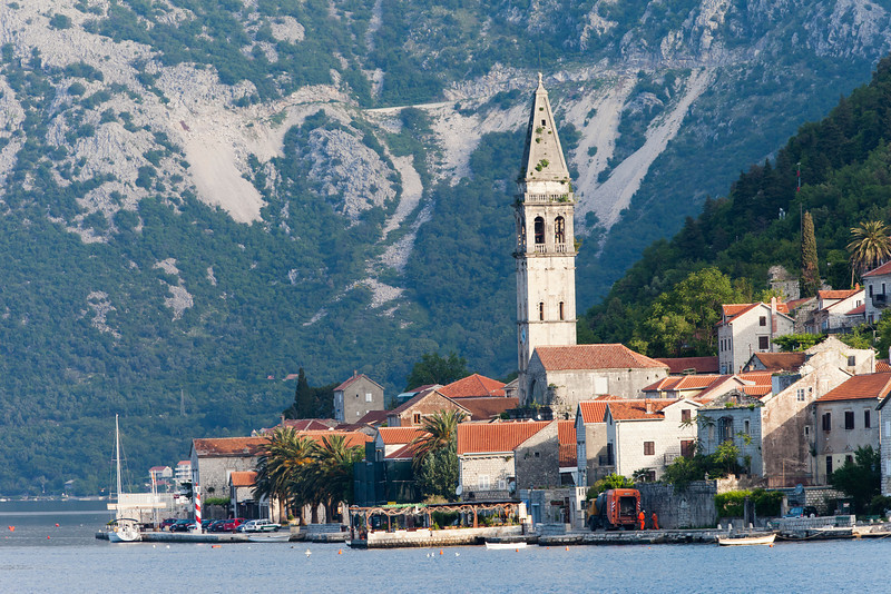 Town of Perast nestled in the beautiful Kotorfjord of Montenegro