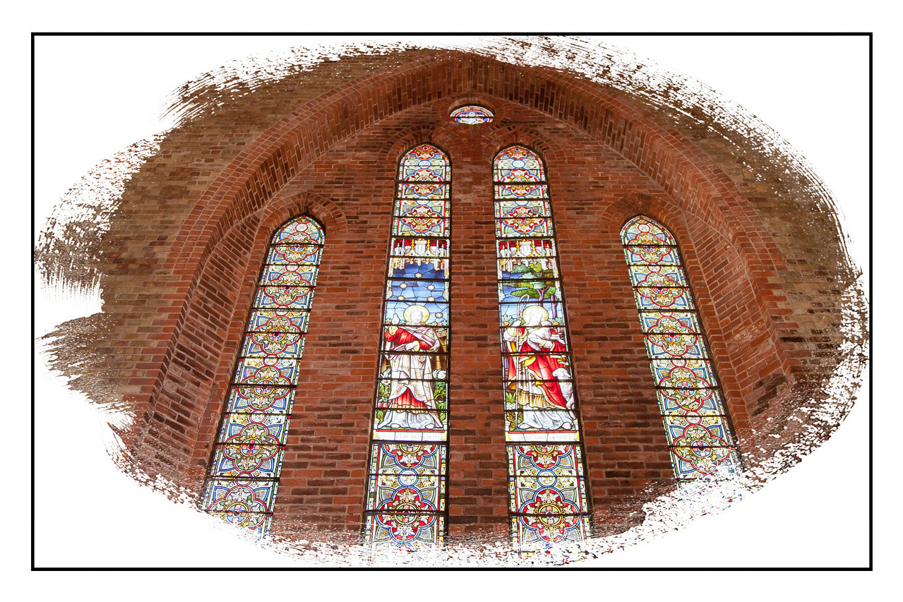 The stained glass as seen from inside the cathedral.