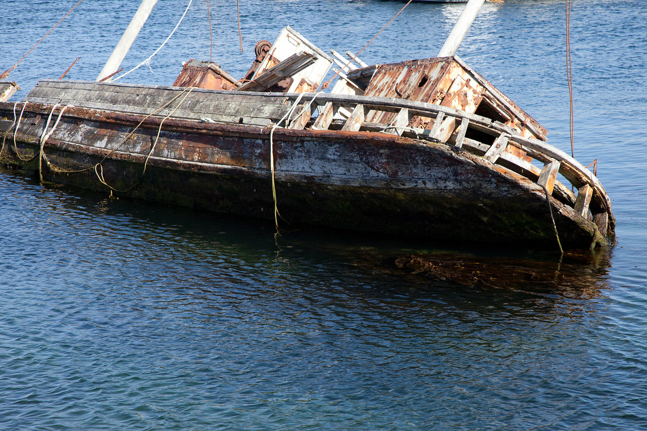 Abandoned ship in the harbor at Stanley, Falklands.