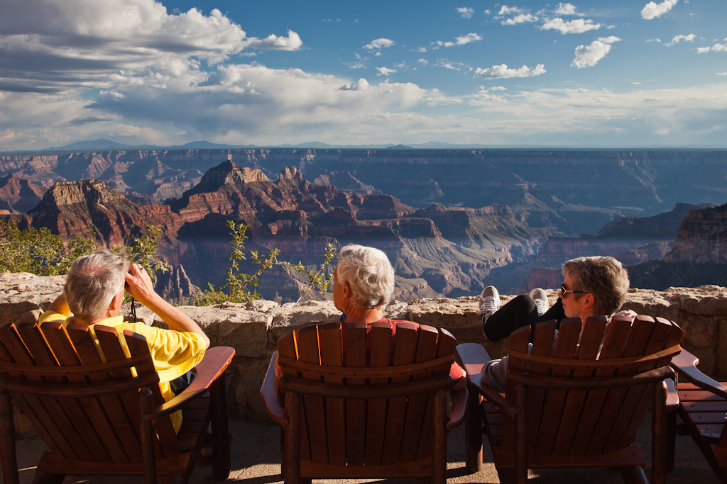 Visitors enjoying the view from the Lodge.