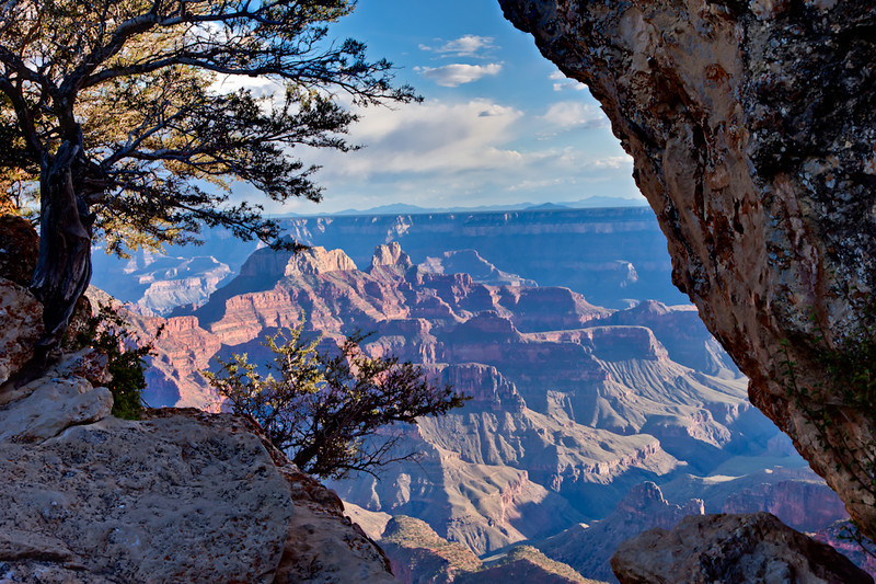 Returning to the Grand Canyon Lodge, we hiked out to Bright Angel Point for this peek at that canyon