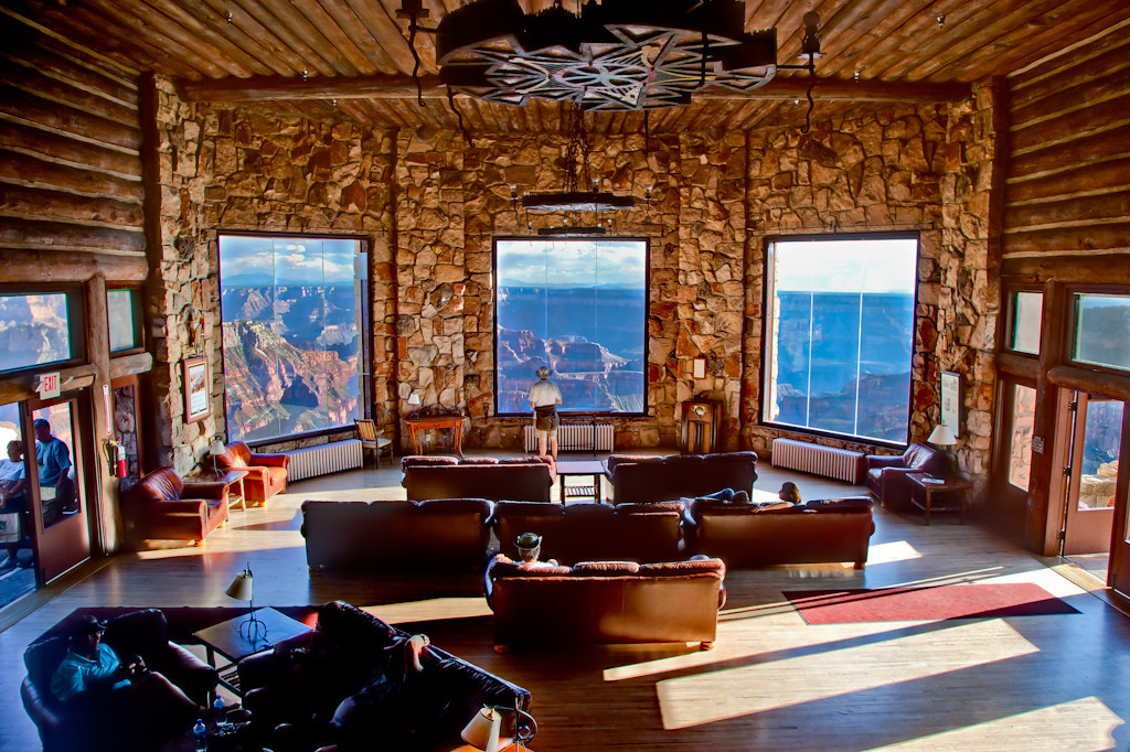 Viewing the Grand Canyon from within the Lodge. Fortunately the North Rim is not nearly as crowded as the South Rim because it's more difficult to reach.