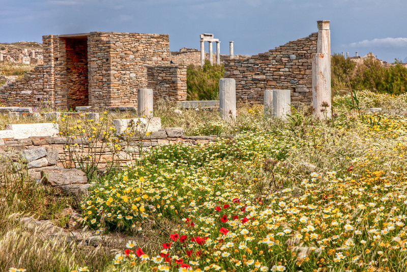 Ancient city ruins, Delos Is.