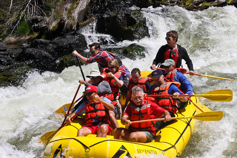 Rafting the Deschutes River rapids
