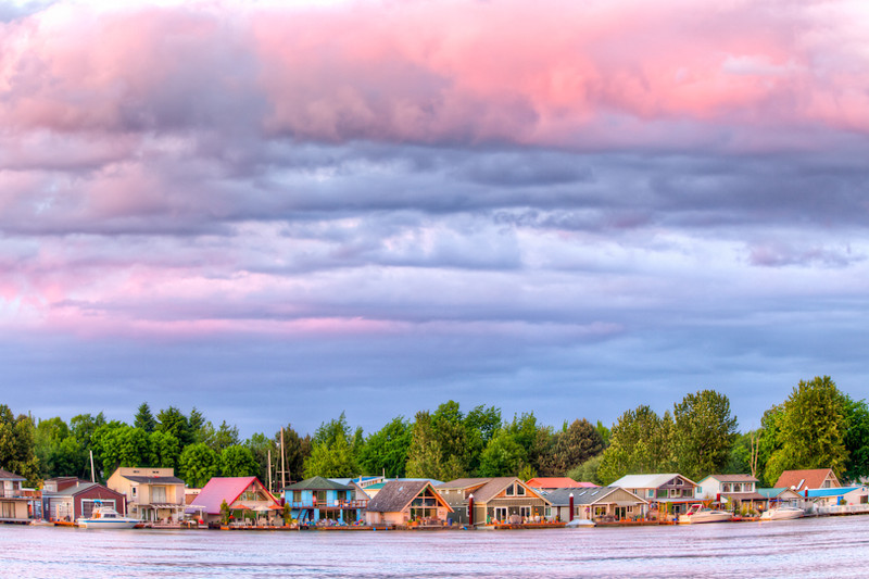 Houseboats on the Willamette River, Portland