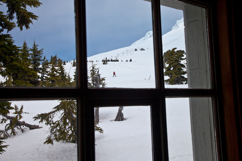 Watching a snowboarder on Mt. Hood from Timberline Lodge