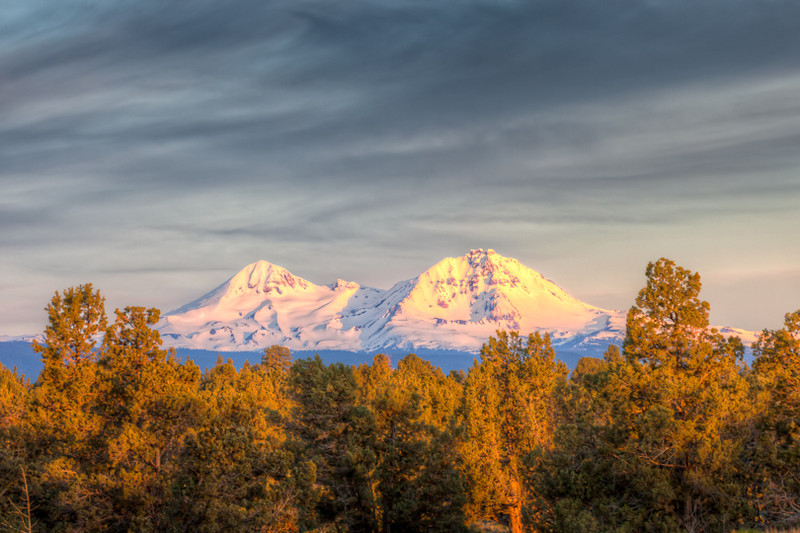 Two of the Three Sisters at sunrise from Bend, Oregon