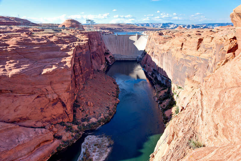 Glen Canyon dam which backs up the Colorado River to create Lake Powell in southern Utah.