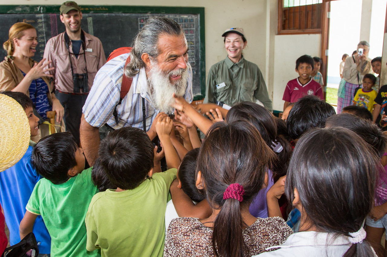 The beard of Eduardo Arrarte, a Peruvian who toured with us, fascinated the children.