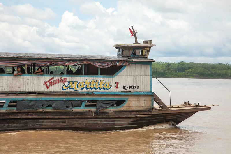 One of the larger river boats used for transporting goods and people between villages and town.