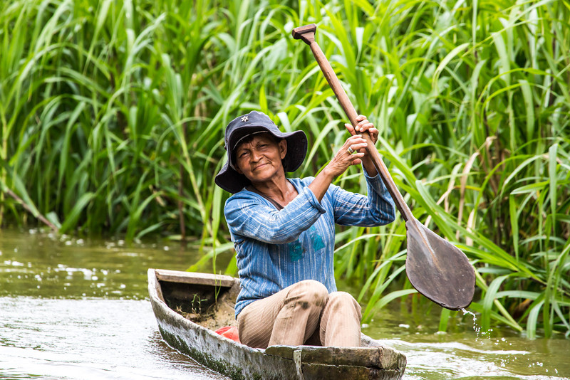 We saw many, many small boats on the river.  Both the old and the young, male and female, all paddled to get from one village to the next and also to fish.  It is the only available form of transportation.