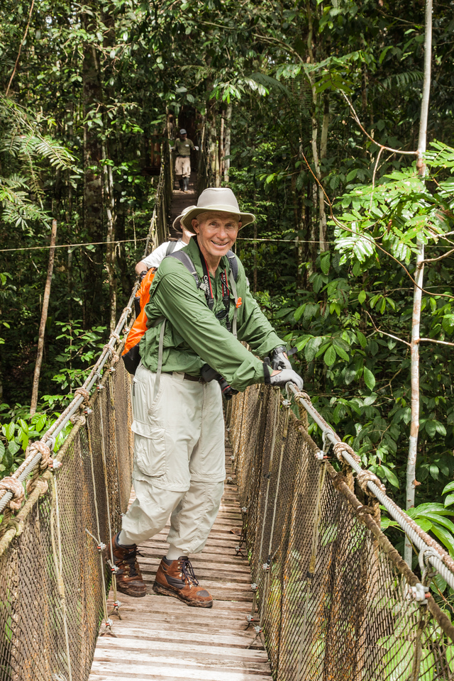 Rainer navigating one of the 8 suspension bridges on a hike in the Amazon.  He wasn't nearly as bothered as I was having to cross from platform to platform.