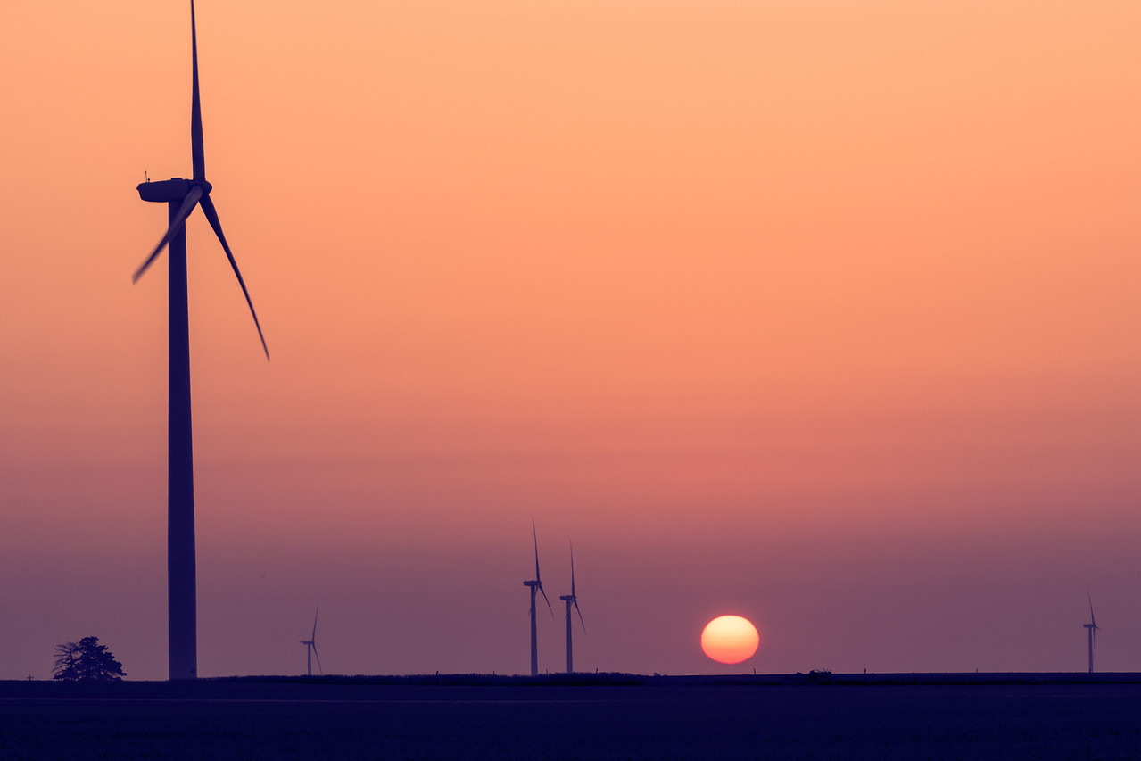 Wind turbines, central Illinois