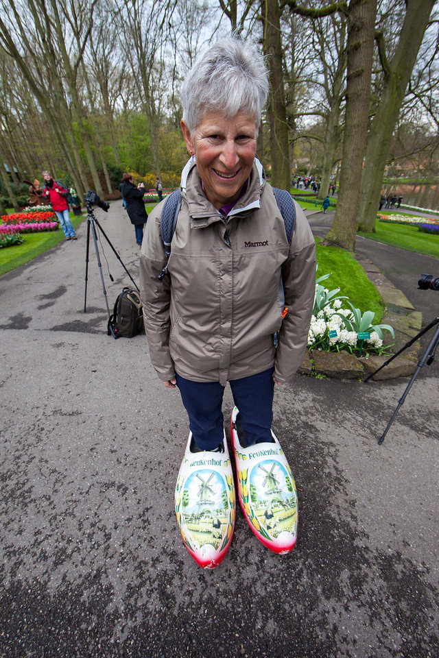 I believe Julie could walk on water with those wooden shoes.