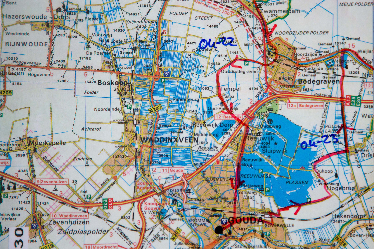 For each day we would have 3-4 maps that showed us the route we were traveling. Here it shows our route coming into Gouda, where we stayed overnight, and then the route leaving Gouda.