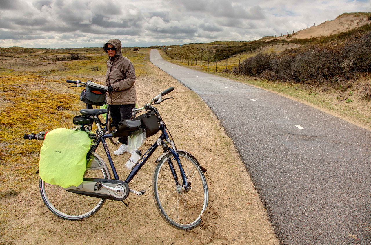 Stopping for a brief break while traveling through the hilly and windy sandhills on our way to Leiden.