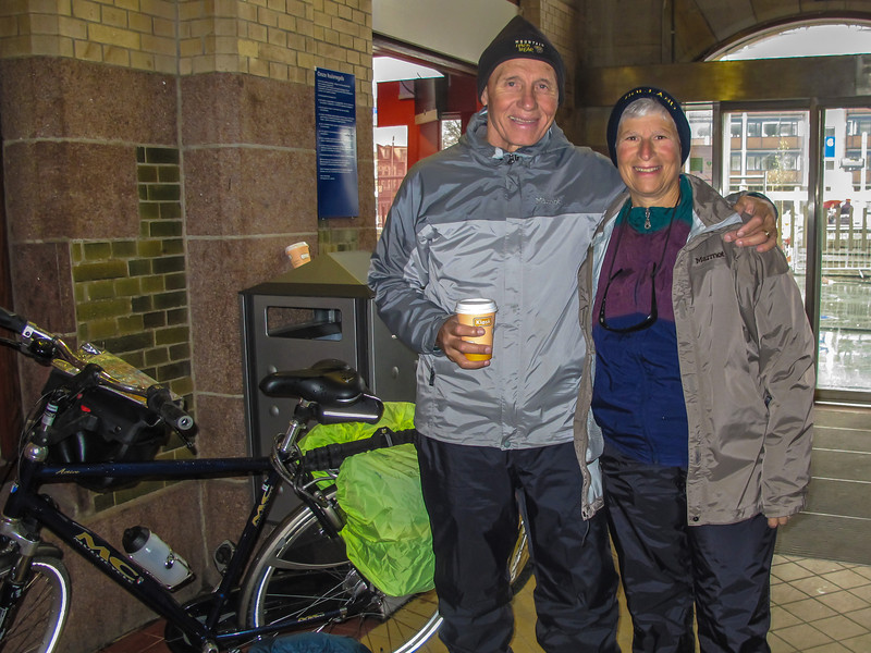 Just as we were about to begin we had our first rain shower so we slipped into the train station for a coffee break.